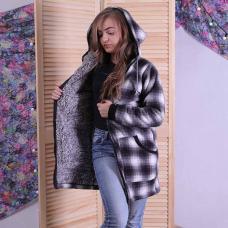 """Женская теплая кофта-куртка """"Клетка"""" р. 44-52"""