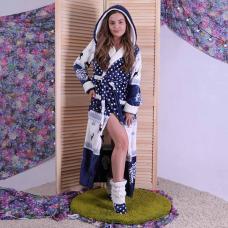 """Женский длинный махровый халат с двойным капюшоном """"Christmas"""" р.46-54"""