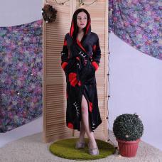 """Женский длинный махровый халат с двойным капюшоном """"Lips"""" р.42-50"""