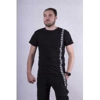 """Мужская стильная футболка """"Tape-black""""  р. 44-52"""