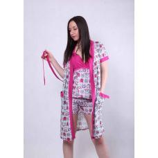 """Комплект халат с пижамой """"Совушки"""" р.42-50"""