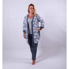 "Теплая тройка халат с пижамой ""Blue"" р.42-54"